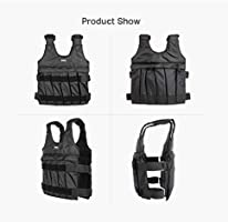 BISOZER Weighted Vest Max Loading 50kg Adjustable Weighted Vest Weight Jacket Exercise Fitness Boxing Training Waistcoat Invisible Weightloading Sand Clothing