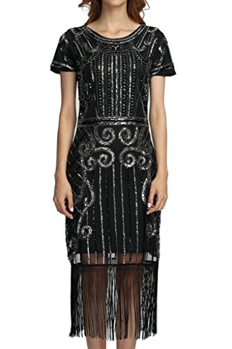 1920s Vintage Inspired Sequin Embellished Fringe Long Gatsby Flapper Dress XPR004 Black Silver XL