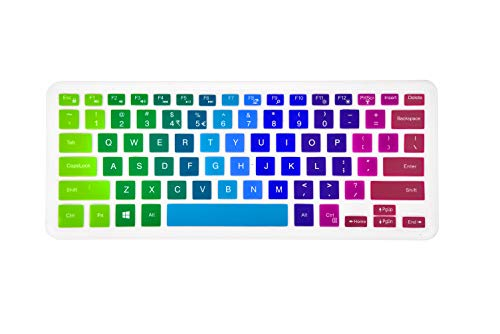 Keyboard Cover Compatible Dell Inspiron 13 5000 7000 Series 5368 i5378 7370 7373 7368 7378, Dell Inspiron 15 5568 5578 7568 7570 7573,XPS 15-9550 9560 9570 Laptop - Rainbow (Replacement Key For Dell Laptop)