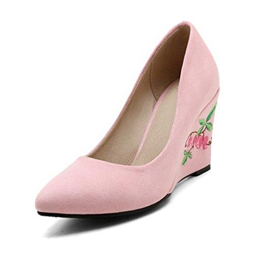 Rosa di Tacco Novità in Rosa Tacchi Rosso Applique DIMAOL Festa Donna la Comfort Primavera Sera Nozze a per Scarpe Nubuck Cuneo Pelle Estate amp; Punta da qfwx4CPH