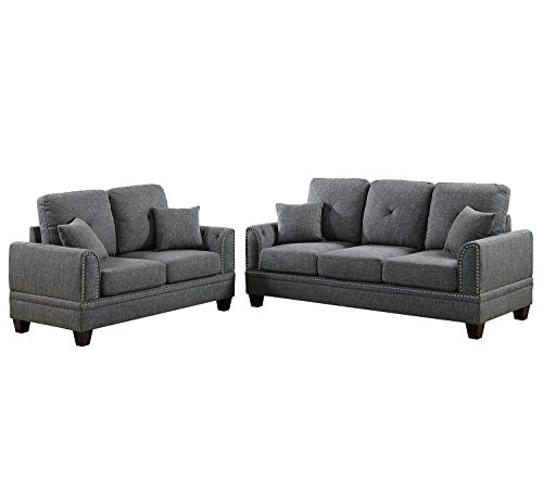 Poundex F6507 Bobkona Bailey Sofa and Loveseat, Ash - Room Ash Living Loveseat