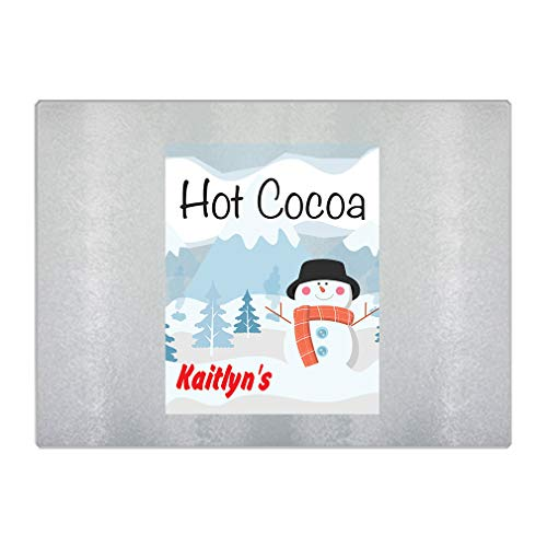 Personalized Custom Text Snowman Chritsmas Hot Cocoa Glass Rectangular Chopping Trivet Cutting Board - 8
