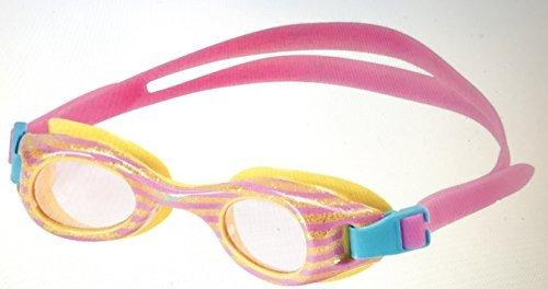 Kids Glide Print Swimming Goggles, Light Pink Stripes with Gold Flecks, Latex Free, UV Protection, Anti-Fog, Flex Fit for Recreational Swimmer 3-8 (Flex 7 Lens)