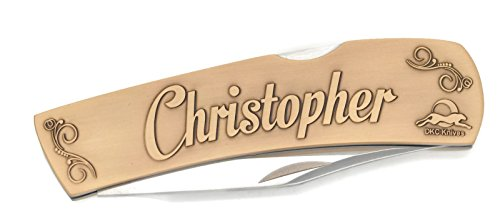 Blade Antique Brass Custom ((3 7/18) NS DKC-1000-B CHRISTOPHER Personalized Name Knife Custom Hand Engraved Minted In Antique Brass 4.5 oz 6.75