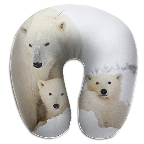 (KopgLnm Cute Polar Bear Neck Pillow Comfortable Soft Microfiber Neck-Supportive Travel Pillow for Home, Neck Pain)
