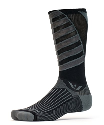 Price comparison product image Swiftwick VISION TEAM EIGHT, Tall Crew Socks for Cycling, Gray Pewter, Large
