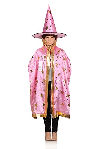 ProEtrade Child Costume Cosplay Cape With Witch Hat For Halloween Christmas (Pink)