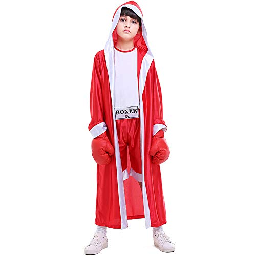 Children Boxing Costume Boxer Cosplay Halloween Party Dress Decoration Role Playing Uniform Carnival Boxing Robe for Kids (Asian XL(Height 55-59