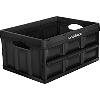 CleverMade CleverCrates 32 Liter Collapsible Storage Bin/Container: Solid Wall Utility Basket/Tote, Black