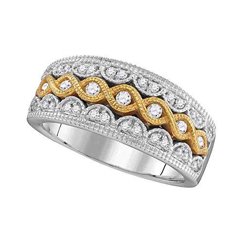 Diamond Braided Band Milgrain Twist Ring Fashion Style Womens Fancy .35ct 10k White Gold & Yellow Gold