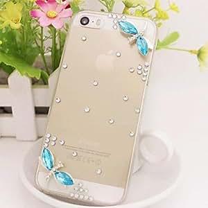 WQQ libélula del diamante del diamante transparente caso de la contraportada para el iphone 5c