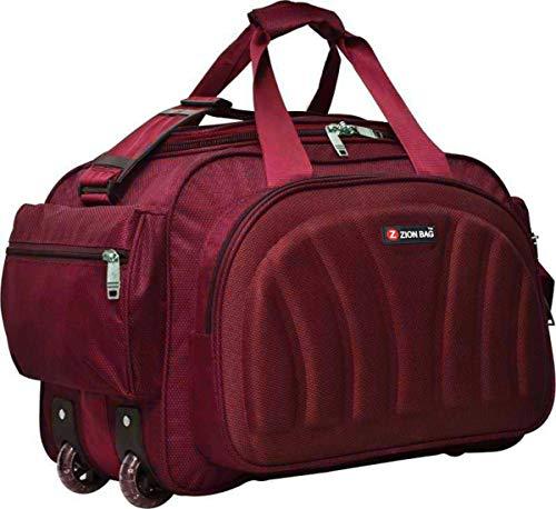 Zion Bag Zeolite Waterproof Polyester Lightweight Travel Duffel Bag with 2 Wheels ( Red 55 L)