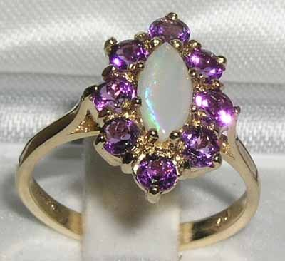 Luxury Ladies Solid British 14K Yellow Gold Natural Opal & Amethyst Cluster Ring - Size 6.5 - Finger Sizes 5 to 12 Available - Perfect Gift for Birthday, Christmas, Valentines Day, Mothers Day, Mom, Mother, Grandmother, Daughter, Graduation, Bridesmaid.