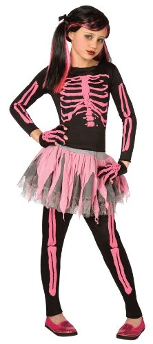 Girls Skeleton Punk Pink Kids Child Fancy Dress Party Halloween Costume, S (4-6)