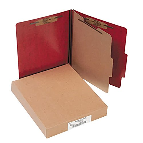 15004 8 1/2'' x 11'' Red 4-Section Presstex Classification Folder with Prong Fasteners and 2/5 Cut Tab, Letter - 10/Box