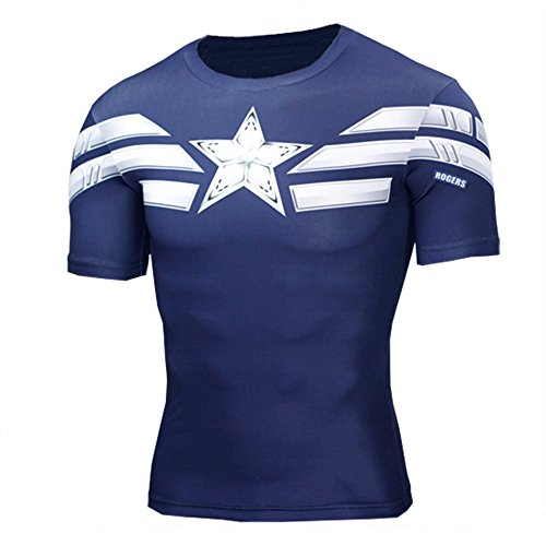 (Mens Super Heros Captain America Navy Compression Fitness Sport Tee Shirt 3XL)