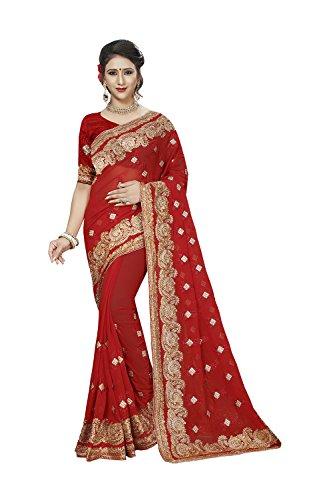 Nozze Donne Sari Sari Tradizionale Indiani Le Rosso Di Per Partito Facioun Indossare Progettista Da 6fq05