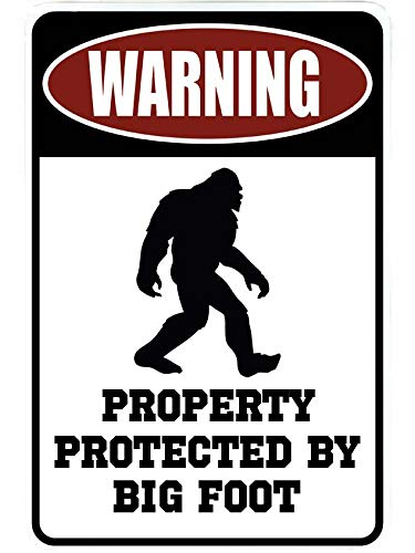 Warning Property Protected by Big Foot – Funny Metal Decor Gift Sign by SignDragon
