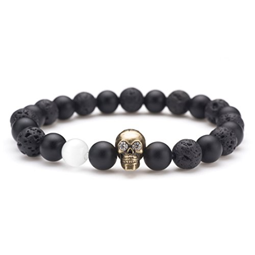 Karseer Black Matte Onyx and Lava Energy Stone Beaded Stretch Bracelet, Retro Bronze Crystal Brain Skull Charm with White Cat Eye Stone Decorate Personality Bangle Jewelry Birthday Gift Unisex 7