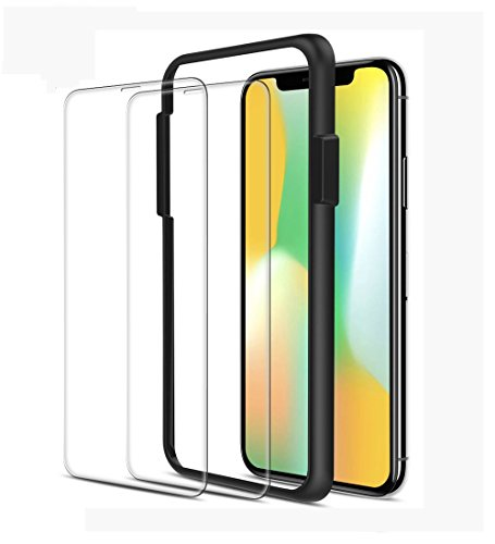 iPhone X Screen Protector(2 -Pack, Clear), ALLEASA Premium 0.25mm Ultra-thin HD Full Coverage Film Tempered Glass Screen Protector with Easy Installation Guide Frame [3D Touch] for Apple iPhone X/10 ()
