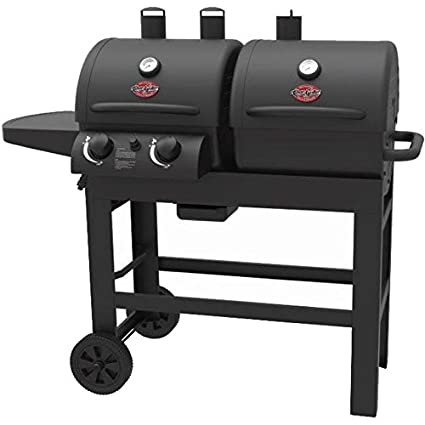 Char-Griller Dual 2 Burner Charcoal and Gas Grill with Stainless Steel Heat Gauges and Cast Iron Grates, Made with Heavy Duty Steel