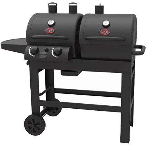 Char-Griller Dual 2 Burner Charcoal and Gas Grill with Stainless Steel Heat Gauges and Cast Iron Grates, Made with Heavy Duty Steel by Char-Griller