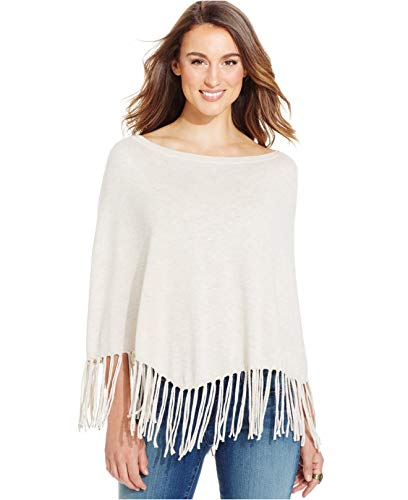 (DKNY Jeans Fringe Boat-Neck Poncho Oatmeal Heather (Grey) Size L/XL)