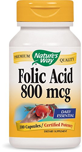 Natures Way Folic Acid 800 mcg 100 capsules. Pack of 8 bottles.