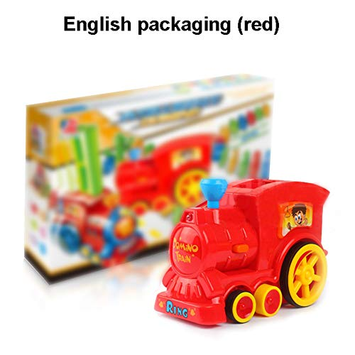 Forart Domino Train Toy Set, Rally Electric Train Model with Light and Sound, Colorful Domino Game Building Blocks Car Truck Vehicle Stacking Toy for Boys Girls