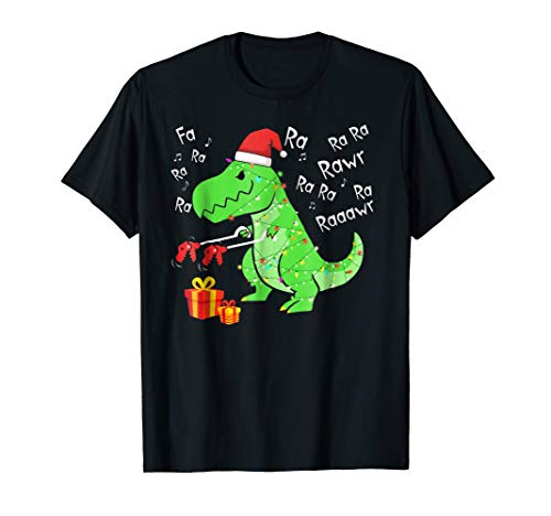 (Fa Ra Ra Ra Rawr Tree Rex T-Shirt - T-Rex funny christmas)