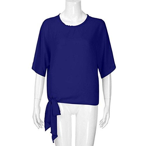 de ❤️Femmes base noeud T Top Loose Tefamore avant occasionnels Foncé shirt cravate Fit demi Bleu manches Blouse T44wrqRE