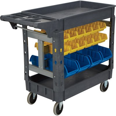 Strongway 500-Lb. Workstation Cart with Bins - 40 3/8in.W X 17 5/16in.D X 33 5/8in.H