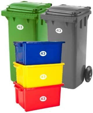 WHEELEY BIN OUTDOOR STICKERS SET WITH DIFFERENT DESIGNS AND COLOURS