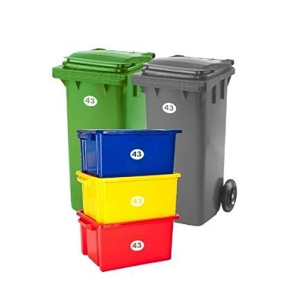 Juego de 5 pegatinas Laserables con números y letras para contenedores y cajas de basura