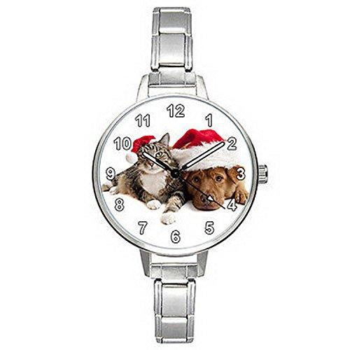 bmtc635-xmas-dog-cat-stainless-steel-italian-charm-strap-mens-ladies-wrist-watch