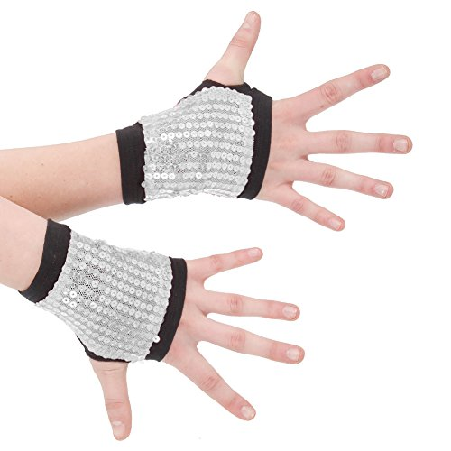 Silver Costume Gauntlets (Alexandra Collection Sequin Hand Gauntlets Dance Costume Accessory Silver One)