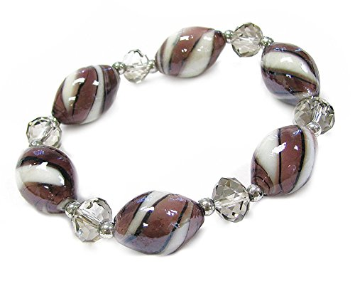 Linpeng BR-1532 Oval Lampwork Glass Beads Faceted Rondelle Crystal Stretch Bracelet, (Rondelle Lampwork Beads)