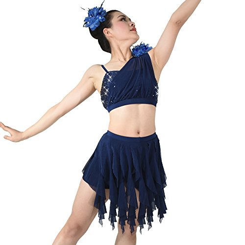 MiDee 2 Pieces Sequins Diagonal-neck Irreguar Latin Dress Dance Costume (SC, Navy Blue) (Dance Costumes For Competition Lyrical)