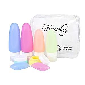 Set da Viaggio Aereo, Contenitori Liquidi Silicone Bottiglia per Shampoo, Balsamo, Crema, Lozione (4 Silicon Bottle + 2 Jar + 2 Tappo Spazzolino + 1 PVC Pochette) 6 spesavip