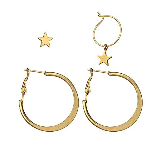 (Star Dangle Hoop Earrings,Circle Earrings and TIny Gold Star Stud Jewelry for Women Girls)