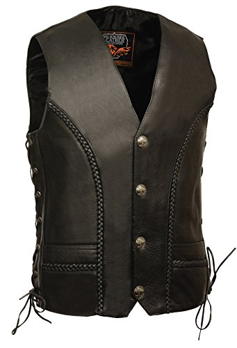 Milwaukee Men's Braided Side Lace Leather Vest (Black, Size - Nickel Vest Buffalo