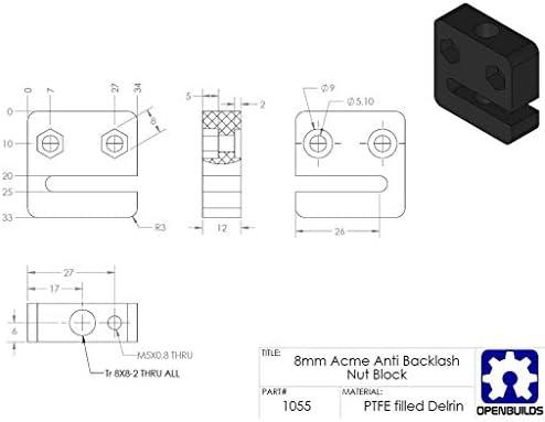 CHENBIN-BB 3DプリンタT8 2mmピッチTスレッドPOM台形ねじナットシート、3Dプリンタの交換用アクセサリ - 4ミリメートル鉛
