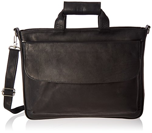 Piel Leather Top-Zip Laptop Brief Tote, Black, One Size