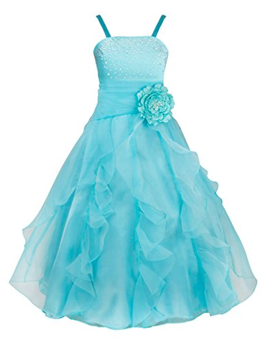 YiZYiF Kids Big Girls Flower Party Wedding Gown Bridesmaid Organza Ruffle Dress Sky Blue (Halloween Ball Gowns)
