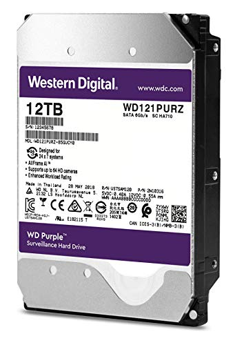 "WD Purple 12TB Surveillance Hard Drive - 7200 RPM Class, SATA 6 Gb/s, 256 MB Cache, 3.5"" - WD121PURZ"
