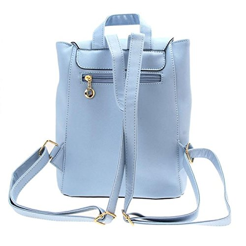 Amazon.com: Backpacks,Han Shi Women Girls Leather Schoolbags Travel Casual Shoulder Bag Mochila (Blue, M): Home & Kitchen