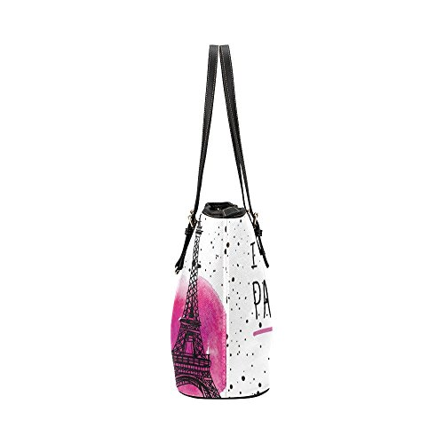 InterestPrint Fashion I Love Paris Eiffel Tower France Women's Leather Handbags Ladies Shoulder Bag Tote Bags by InterestPrint (Image #3)