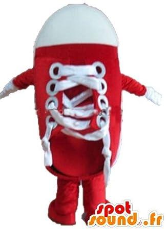 マスコットSpotSoundアマゾン巨大な靴、赤と白のバスケットボール