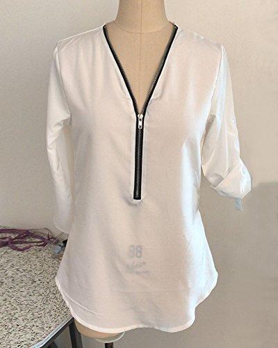 Casual V Blusa Camicia Cerniera Chiffon Bianco Manica Collo Con Elegante Donna T Lunga Shirt UCXqq6