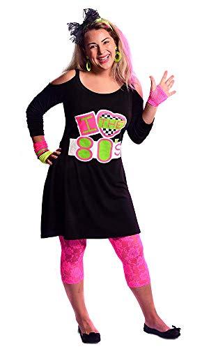 Womens Black I Love The 80s Cold Shoulder Dress